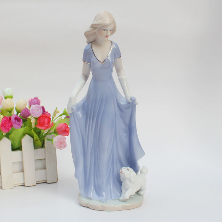 Free shipping home decor Ceramic crafts made in china modern ceramic figurine For home decor Attractive Girl and dog(China (Mainland))