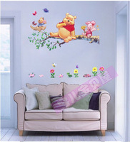 Cute Bear PVC Wall Stickers for kids room Wallpaper Home Decor Stickers for Bathroom Free Shipping