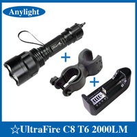 CREE XM-L T6 2000Lm 5 Models 18650 Led flashlight Bike Bicycle Light High Power Torch+Adjustable clip+Universal charger