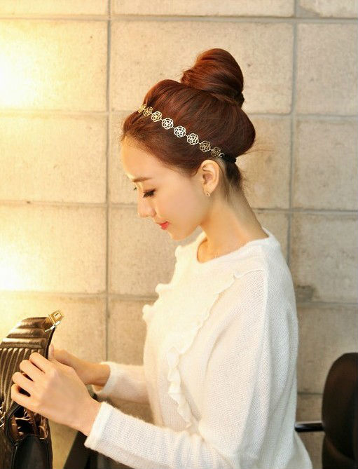 Fashion Headband Free shipping Hair Accessories hair band Hot Metallic Lady Hollow Rose best gifs for girls(China (Mainland))