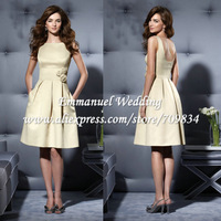 Custom Made Knee Length Satin Hand Made Flower Pockets Boat Neck Beige Bridesmaid Dress Free Shipping PGL643