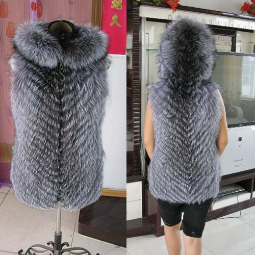 New 100% Genuine Real Fur Silver Fox Fur Vest Coat Women Winter With Hood Natural Fox Fur Coats Jacket Clothing Big Plus Size(China (Mainland))