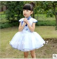 Female child summer short-sleeve dress 2013 children's clothing medium-large female child one-piece dress national trend