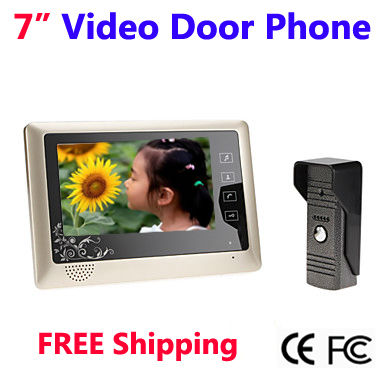 Home 7 Inch TFT Touch Key Screen Color Video Door Phone Intercom system Waterproof Night Visio