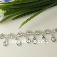 1 Yard Clear Rhinestone Crystal Chain Costume Trim Wedding Supply Craft Triming