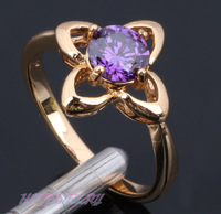 Free shipping 18K Gold Plated Health Jewelry Nickel & Lead Free K Plating Austrian Zircon Golden Element Ring KR61 Size #6#7