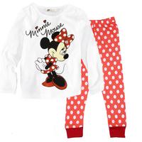 New 2014 Kids Minnie Mouse Pajama Sets Baby Girls Long Sleeve T Shirt Polka Pants Pijama Clothing Childen's Pyjamas Clothes Set