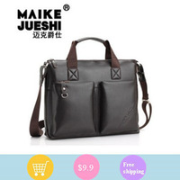 Men's shoulder men's retro computer bag Messenger Business portable documents laptop bag leather bag
