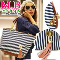 2013 Fashion Handbags for Women Messenger Bags Stripe Street Snap Candid Tote Canvas Shoulder Bag B001