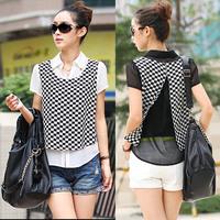 2014 Summer Plus Size Fashion Black And White Lattice Turn-Down Collar Faux Two Piece Short-Sleeve Chiffon Shirt Free Shipping