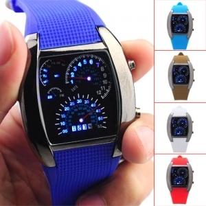 10pcs/lot LED Watch for Men Turbo Blue & White Sports watch NEW Fashion Watches Dropship WCW08