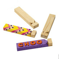 Free Shipping 12pcs/lot Design your own! DIY Unfinished Wood Whistle Drawing Musical Instrument Toys,