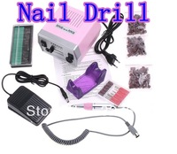 Free Shipping Electric Nail Drill with Nail Bits Foot Pedal File Machine Manicure Pedicure Kit Set 110V/220V