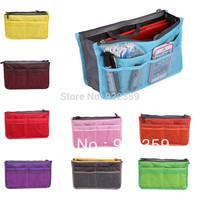Hot sell 1 pc Fashion Womens Multifunction Organizer/Travel Insert Handbag Storage Make Up Cosmetics Bag 9 color  For choosing