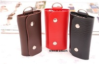 FEDEX FREE SHIPPING 6 ring Key Holder Press buckle portable  key cases Metal+PU key storage bag Vertical section square