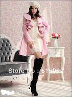 women autumn winter  coat jacket black fashion clothes warm silm free slim hipping7808(pink, black,red, beige)