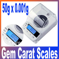 50g x 0.001g High Precision Digital Electronic Jewelry Diamond Gem Carat  Grem Scale Counter Portable Weighing Balance Scales