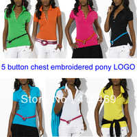 Free shipping women sexy Slim low-cut 5 button poio T-shirt