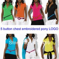 Free shipping women sexy Slim low-cut 5 button poio T-shirt