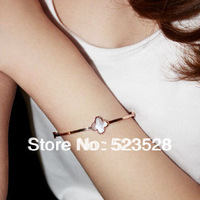 Fashion Jewelry Four Lever Clover Thin Bangles for Women Rose Gold , Free Shipping