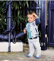 free shipping 5set/lot 3pcs set coat+blue longsleeve T-shirt+pant baby boy suit kid suit clothing