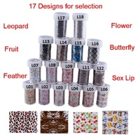 17 Rolls/Lot Nail Art Transfer Foil 100 cm Colored Aluminum Foil Paper Leopard Print Flower Butterfly