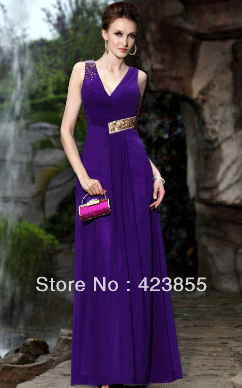 Yingluoyunfei 2013 new style deep blue chiffon full dresses(China (Mainland))