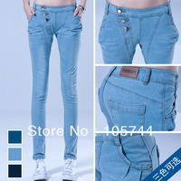 Free shipping 2013 new woman fashion show thin all-match long denim jeans 958# casual denim trousers 100% real picture size26~31