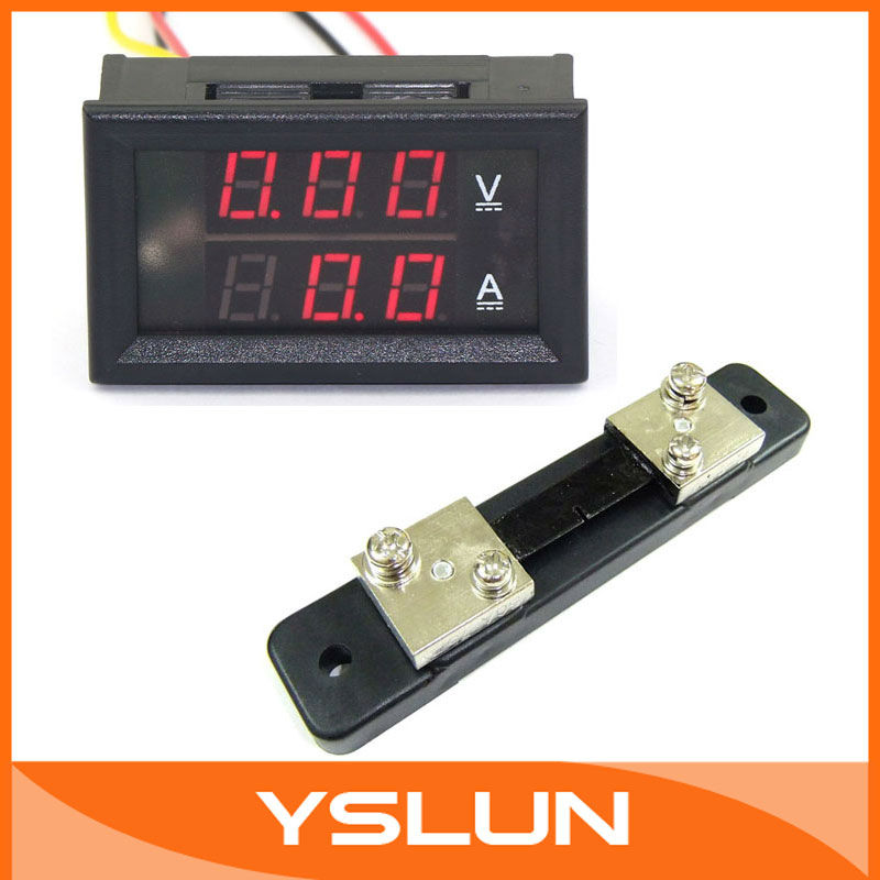 Digital Electrical Volt Amp Meter DC 0-100V 50A Red LED Monitor With Shunt Resistance #100043(China (Mainland))