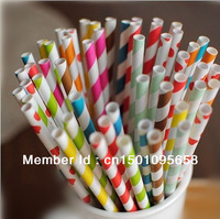 200pcs/lot Polka Dot Striped Star Heart Paper Straws Chevron  Mix wedding Supplies 19.5MM Paper Drinking Straws Free Shipping