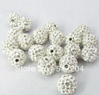 Free Shipping New White Rhinestone Crystal Round Shamballa Pave Disco Ball Beads For Bracelet 100pcs/lot Wholesale