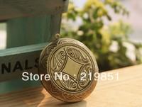 Free shipping(12pieces/lot)antique bronze European retro round studded blank prayer box photo locket jewelry YY7