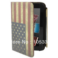 Flag Leather Case with Holder & Credit Card Slots for Samsung Galaxy Tab 2 (7.0) / P3100   Free Shipping
