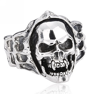 BEIER delicate biker skull Men 925 sterling silver ring fashion jewelry punk rock fashion models in Europe and America(China (Mainland))