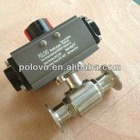 Clamp 2way double acting pneumatic sanitary ball valve