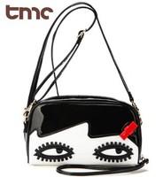 2013 New TMC Kawayi Eye Portable Women Lovely Rivet Solid Color Doll Face Leisure Bag Messenger Purse YL323-3
