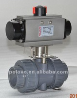 Double acting pneumatic plastic upvc ball valve