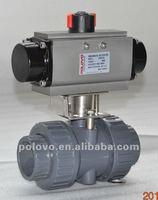 Double acting pneumatic plastic upvc ball valve