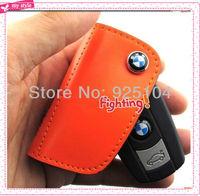 Hot Sale!!! Newest Real Leather Car key Case Key Bag Holder For BMW Orange Color Free Shipping