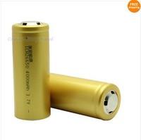Free Shipping!!A Pair Golden 26650 Li-on Rechargable Battery Full Capacity 4000mAh A Grade Core