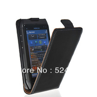 Free Shipping High quality COW SKIN LEATHER FLIP POUCH CASE COVER FOR NOKIA N8 BLACK