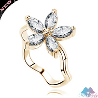 Wholesales The 18K Gold Plated Austrian Crystal Rhinestone fashion Jewelry Jewellry Rings 4418