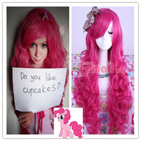 79cm Long Womens Lady Synthetic Magenta My Little Pony Pinkie Pie Wavy Pink Cosplay Wig