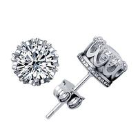 Classic Crown 925 Sterling Silver Stud Earrings Women's Zircon Jewelry Free Shipping (SE126)
