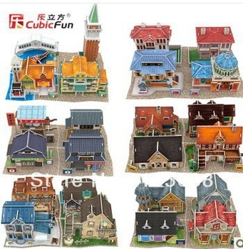 Free shipping 2013new DIY 3D paper model CubicFun World Style 6 countries 24 different types 4pcs/lot puzzle educational toys