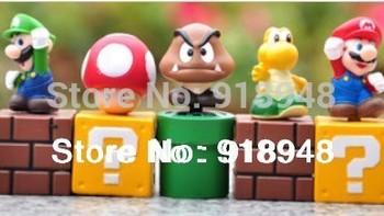 Wholesale Retail Free shipping 5pcs/set Super Mario Bros Luigi Toad Mario Action Figures Toys Doll children toys small figure