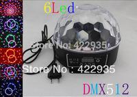 New Sty led6 Channel DMX512 Control Digital LED RGB Crystal Magic Ball Effect Light DMX Disco DJ Stage Lighting Free Shipping