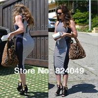 Free Shipping,2014 New Top Fashion Womens Back Zipper Stripe Sheath Splicing Pencil Bodycon Cocktail Patchwork Summer Dress