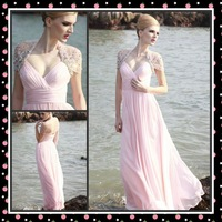 Pink See Through Beaded Back  Long Prom Dresses Formal Evening Gown 2013 Free Shipping