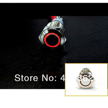 12V 16mm RED Led Angel Eye Push Button Metal Momentary Switch for Car Boats DIY free shipping